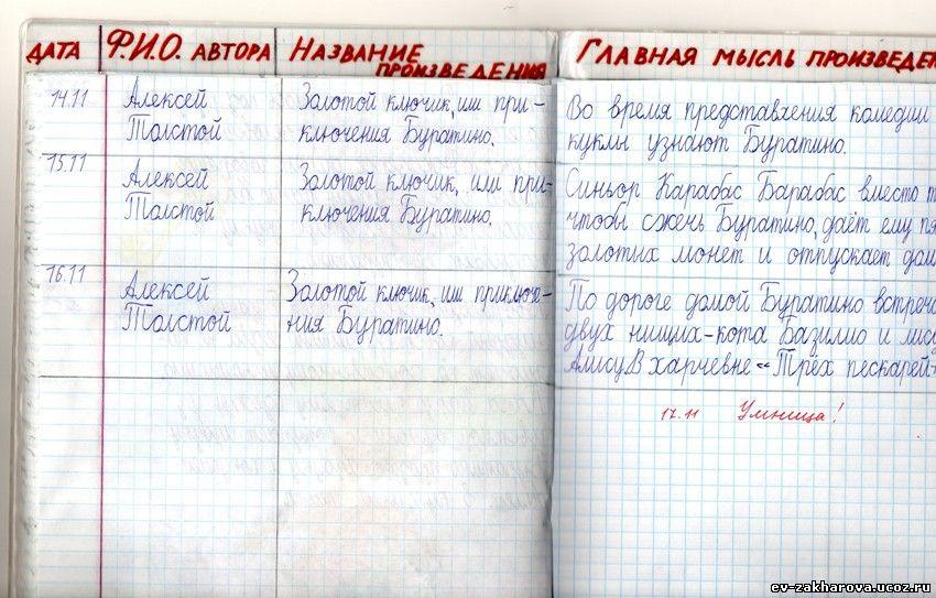 читательский дневник 3 класс фото